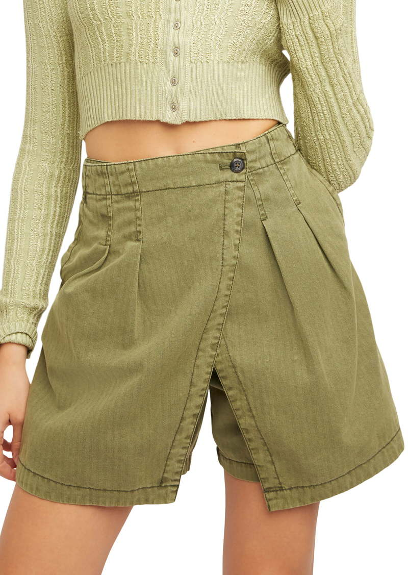 Free People Olive Layered Front Shorts