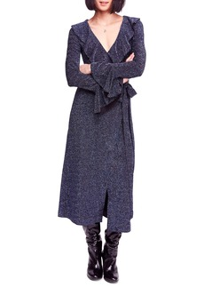 Free People One More Time Shimmer Midi Wrap Dress