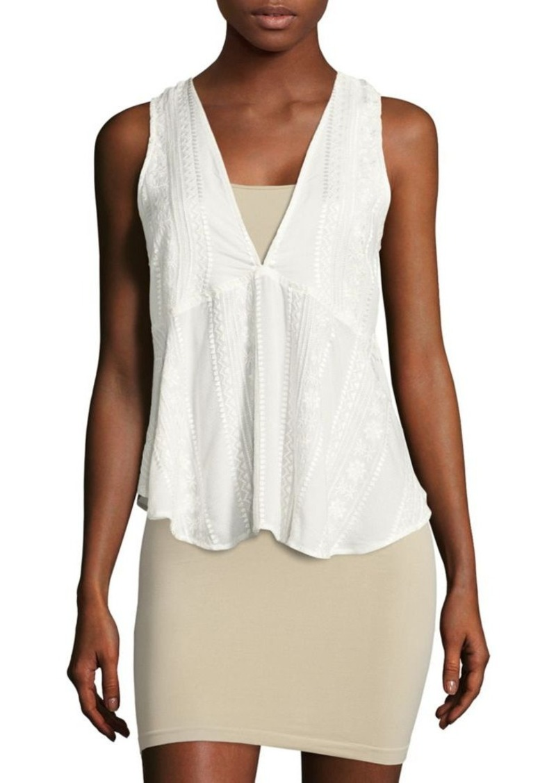 660523419ebfd Free People Free People Open-Back Embroidered Sleeveless Top ...