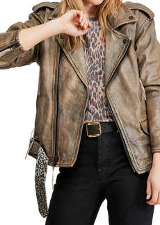 Free People Over You Leather Moto Jacket