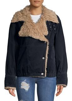 Free People Owen Sherpa Faux Fur Moto Jacket