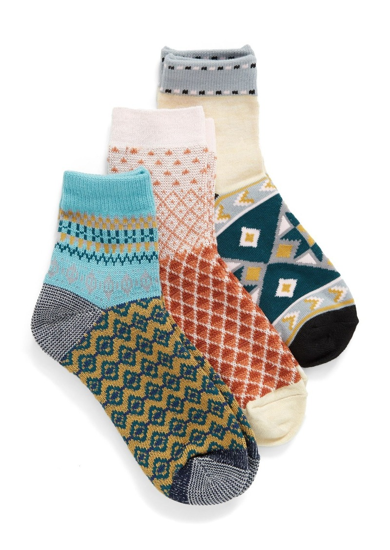 Free People Paradise Cove 3-Pack Ankle Socks
