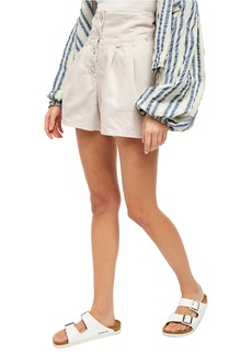 Free People Paris Pleated Denim Shorts
