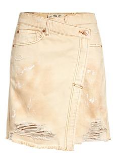 Free People Parker Destroyed Denim Wrap Skirt