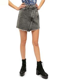 Free People Parker Wrap Denim Miniskirt