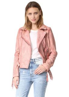 Free People Pink Leather Moto Jacket