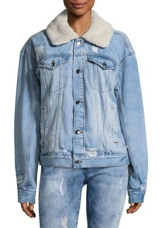 Free People Plaid-Lined Sherpa Collar Trucker Jacket