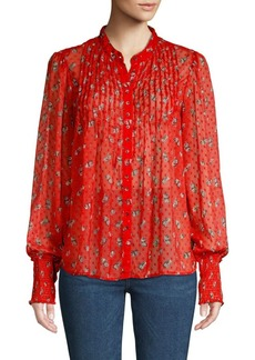 Free People Pleated Floral Blouse