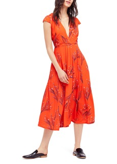 Free People Print Retro Midi Dress