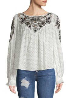 Free People Printed Eyelet Blouse