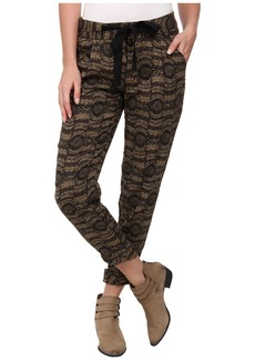 Free People Printed Linen Relaxed Cropped Tie Pants