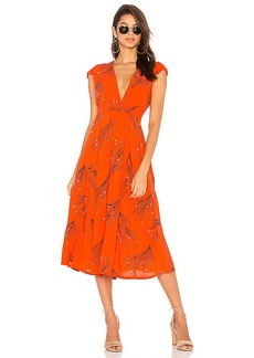 Free People Printed Retro Midi Dress in Red. - size 0 (also in 2,4,6)