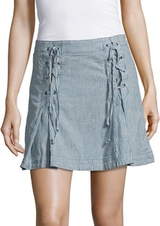 Free People Railroad Striped Lace-Up Skirt