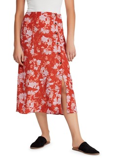 Free People Retro Love Printed Button-Front Midi Skirt