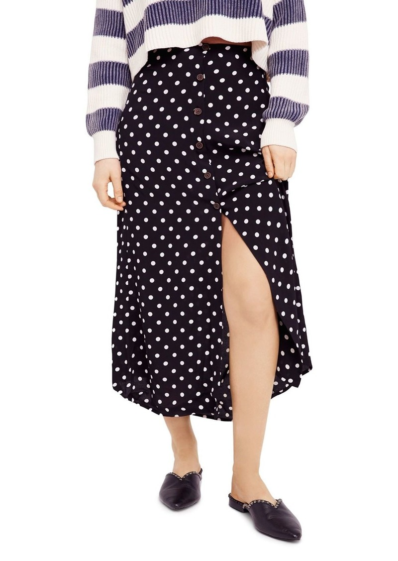 eb3501c59d Free People Free People Retro Love Printed Button-Front Midi Skirt ...