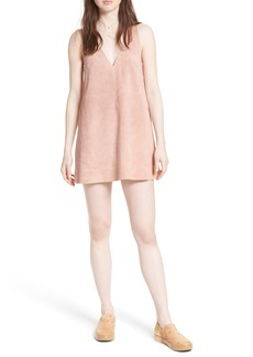 Free People 'Retro Love' Suede Trapeze Minidress