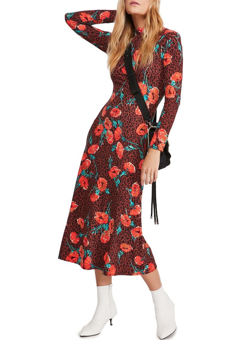 Free People Retro Romance Mixed Print Long Sleeve Dress