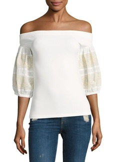 Free People Rock With It Embroidered Top