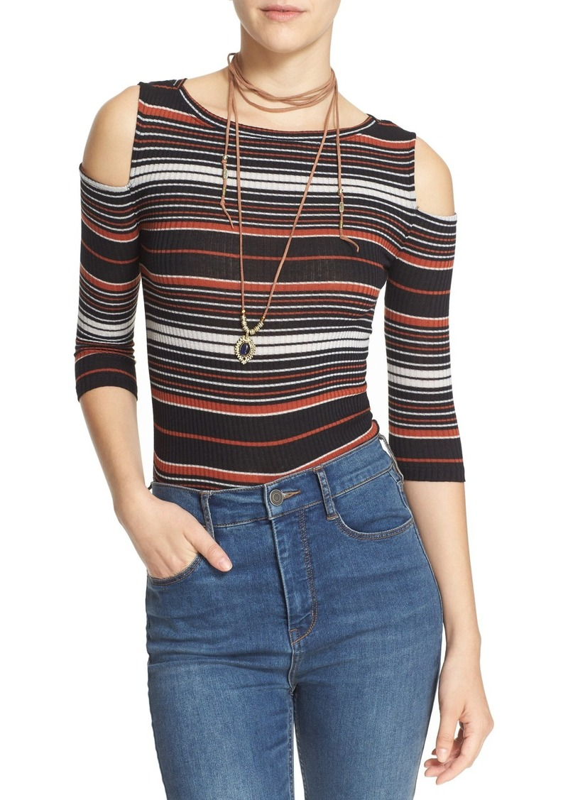 Free People 'Rory' Stripe Cold Shoulder Tee