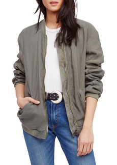 Free People Ruched Linen Bomber Jacket