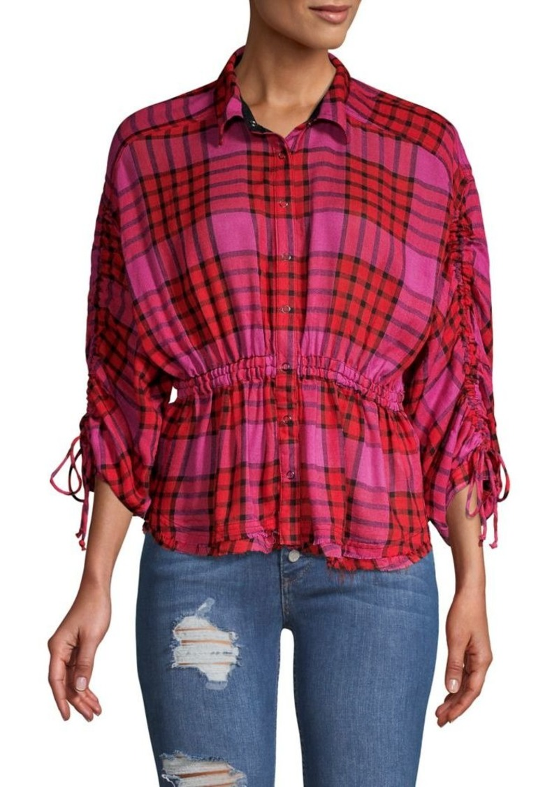 Free People Ruched Plaid Shirt