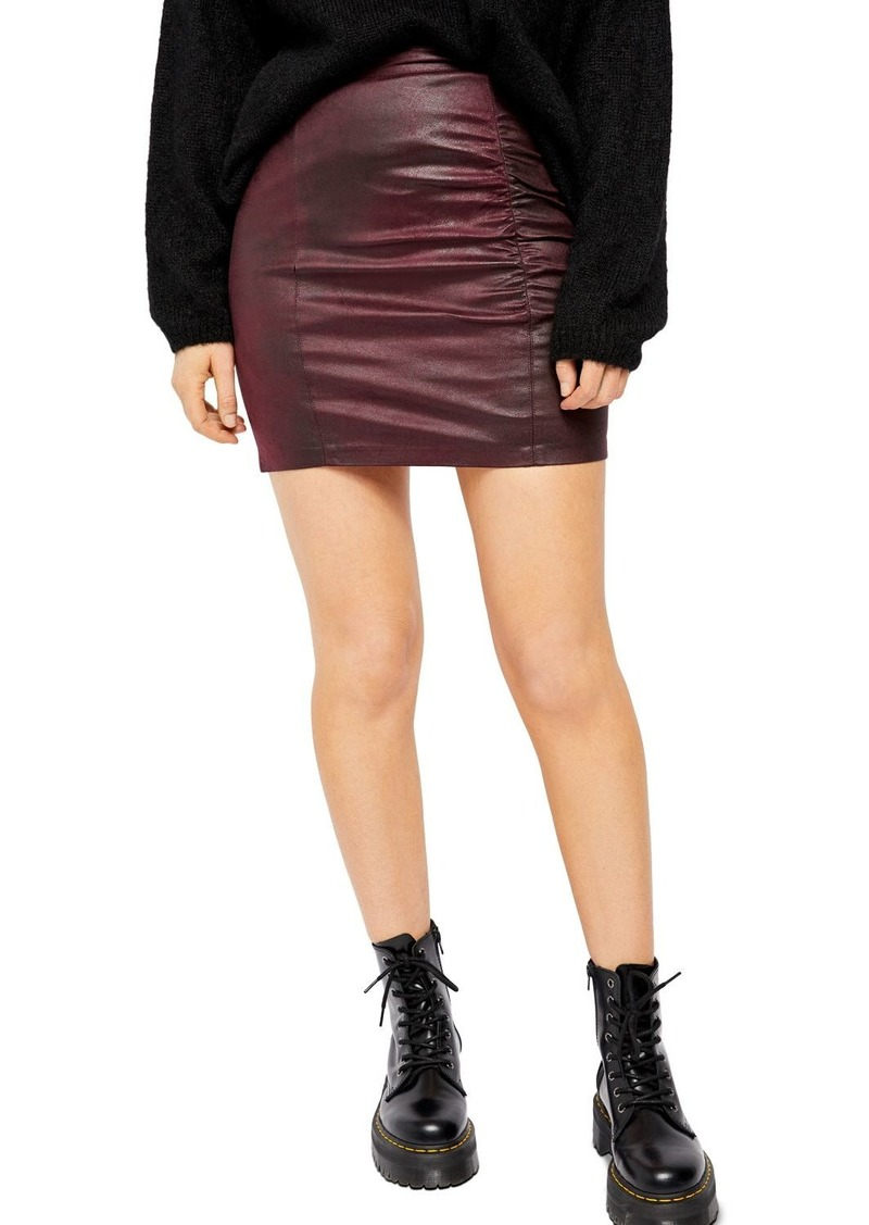 Free People Rumi Ruched Faux Leather Mini Skirt