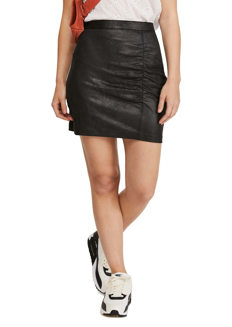 Free People Rumi Ruched Faux Leather Miniskirt