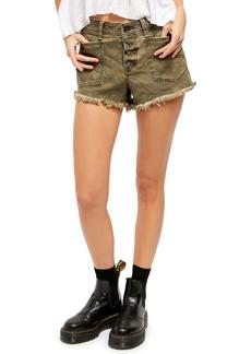 Free People Santa Cruz Camo Cutoff Denim Shorts