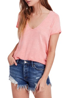 We the People by Free People Saturday Lace Trim Linen Blend Tee