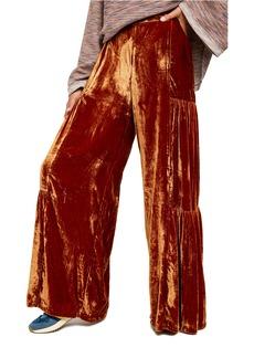 Free People Say La Vie High Waist Velvet Wide Leg Pants