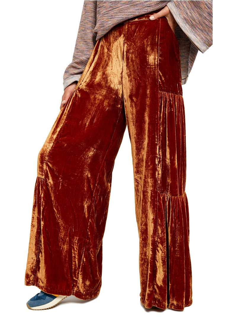 Free People Say La Vie High Waist Velvet Wide Leg Pants