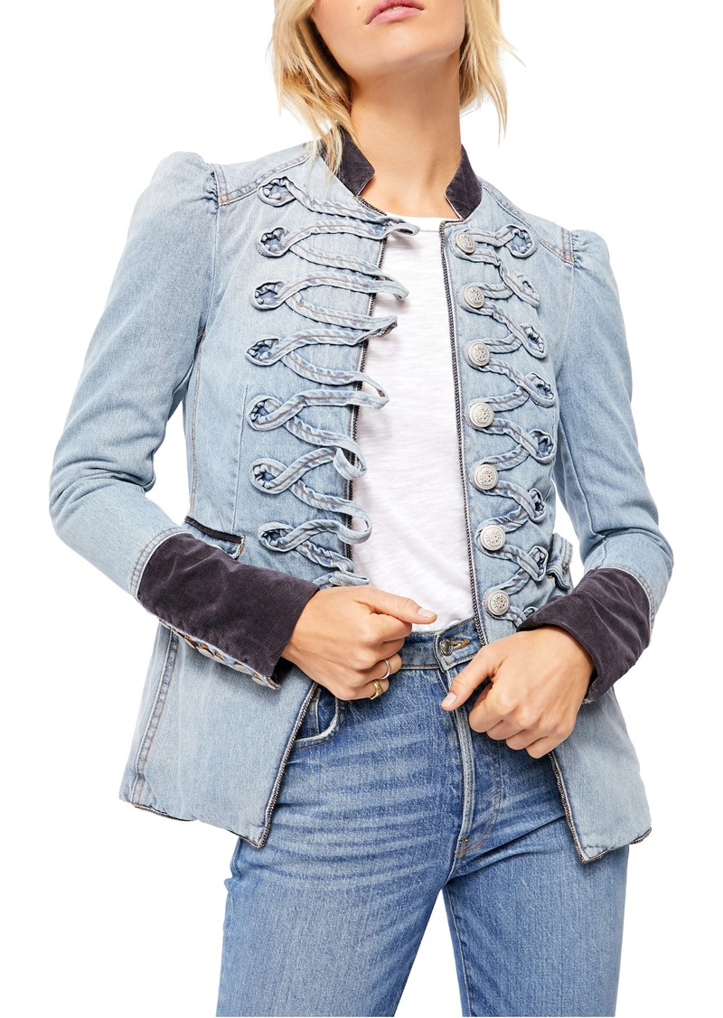 Free People Seamed & Structured Denim Military Jacket
