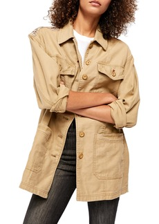Free People Seamed & Structured Patchwork Cotton Jacket