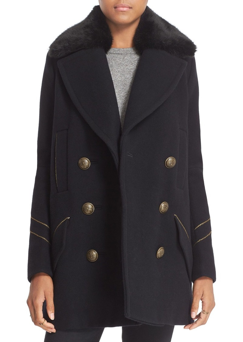 Free People 'Sedgwick' Detachable Faux Fur Collar Peacoat