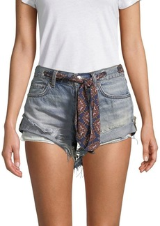 Free People Self-Tie Fringed Denim Shorts