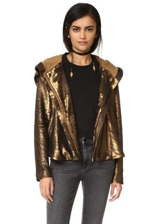 Free People Sequin Hooded Jacket