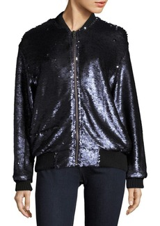 Free People Sequined Bomber Jacket