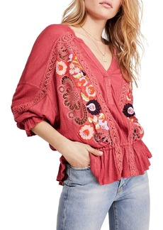 Free People Serafina Embroidered Blouson Top
