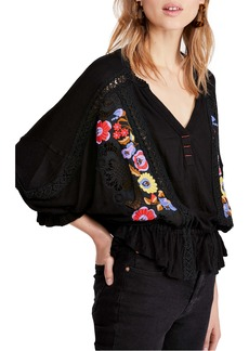 Free People Serafina Embroidered Floral & Crochet Top