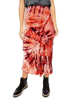Free People Serious Swagger Tie Die Velvet Skirt