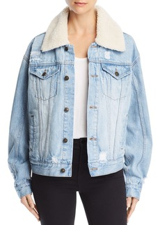 Free People Sherpa Fleece-Collar Denim Jacket