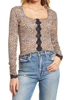 Free People She's All That Lace Trim Button Top