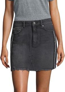 Free People Side-Embellished Denim Mini Skirt