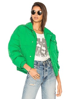 Free People Slouchy Cropped Puffer Coat in Green. - size L (also in M,S,XS)