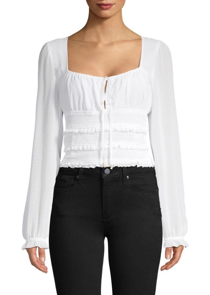 Free People Smocked Cropped Top