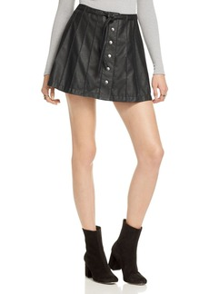 Free People Snap Front Faux Leather Skirt