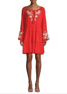 Free People Spell on You Embroidered Mini Dress