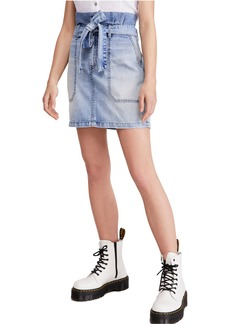 Free People Splendor in the Grass Paperbag High Waist Denim Skirt