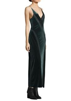 Free People Spliced Velvet Maxi Slip Dress