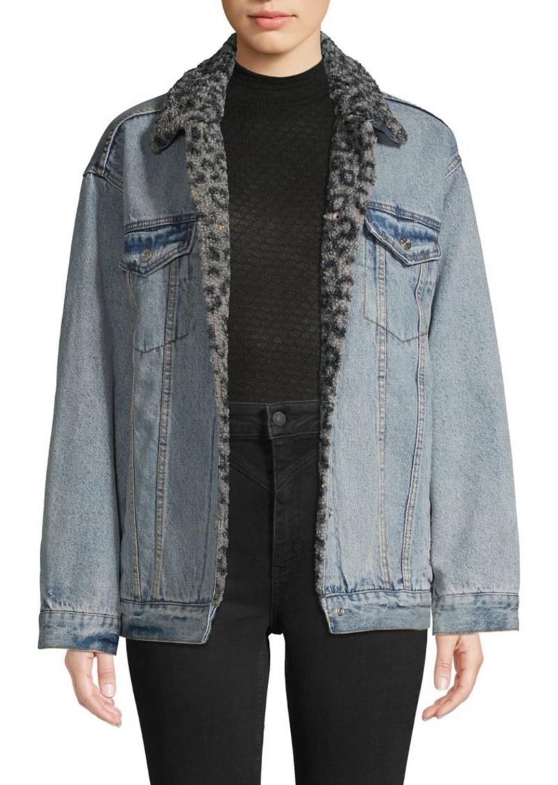 Free People Spread Collar Denim Jacket